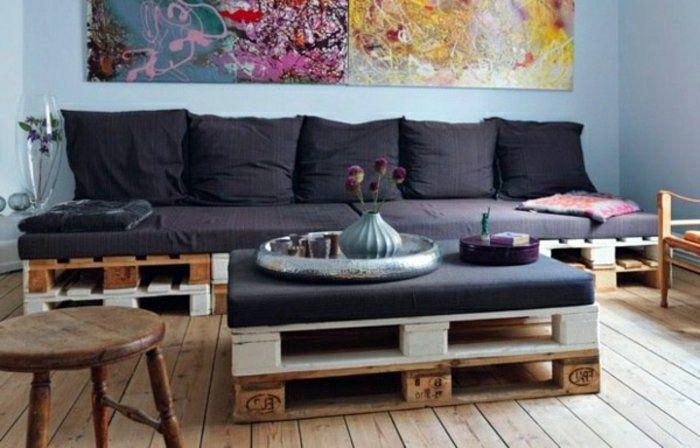 canape palette en bois design pas cher pour le fauteuil en palette salon canap palette. Black Bedroom Furniture Sets. Home Design Ideas