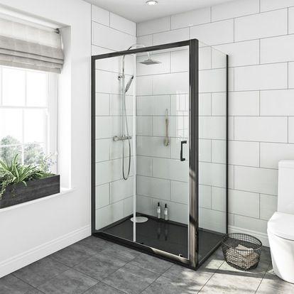 Mode Black Granite Effect Right Handed Rectangular Stone Shower Tray 1200 X 800 Framed Shower Enclosures Shower Enclosure Shower Doors