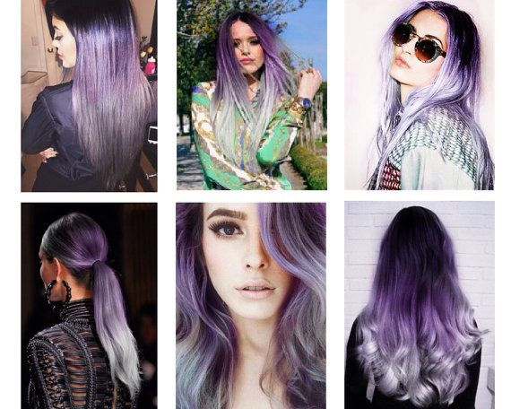Full set ombre hair extensions grey hair extensions black to full set ombre hair extensions grey hair extensions black to purple to granny silver hair remy clip in hair extensions pmusecretfo Images
