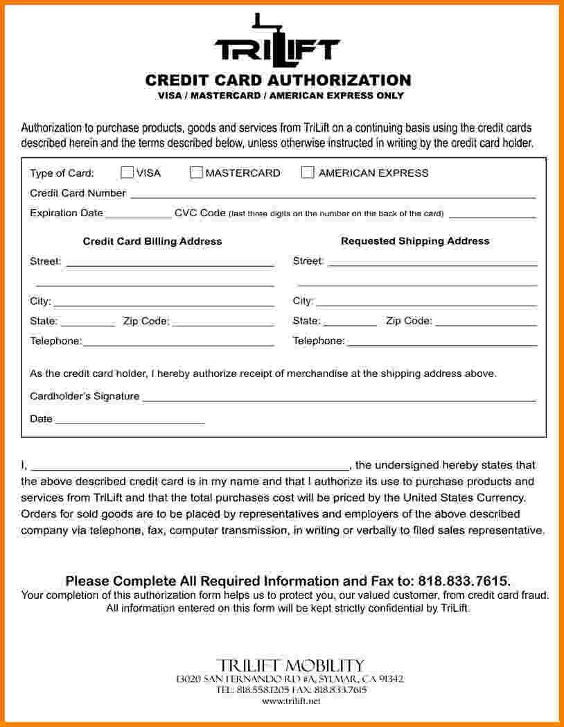 Credit Cards Authorization Form Concrete Foundation Accessories