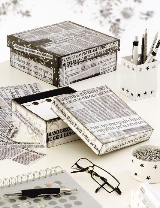 Basteln mit Zeitung: 59+ Fotos & Schritte #caixasdemadeira