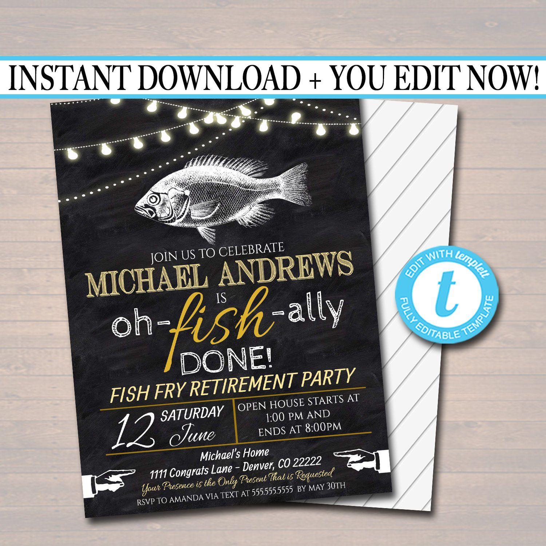 Editable Fish Fry Retirement Invitation Chalkboard Printable Etsy Bbq Party Invitations Retirement Invitations Party Invitations