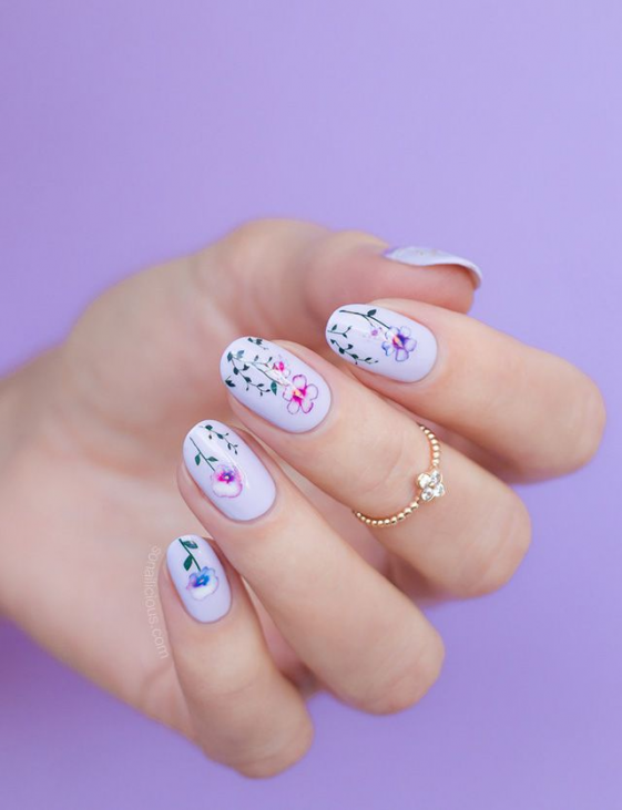 Purple Nail Art Summer Nail Art With Pansy Flowers Breaking The New Floral Stickers Collection Is Here In 2020 Purple Nail Art Purple Nails Nail Art Summer