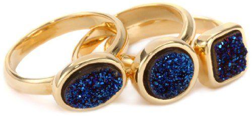 Marcia Moran 18k Gold Plated Dark Blue Druzy Stackable Rings