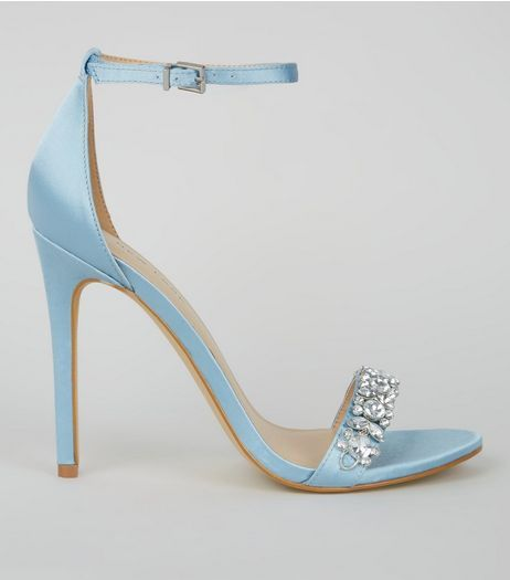 Pale Blue Satin Crystal Embellished Heels | New Look