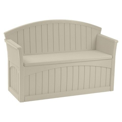 Patio Storage Bench 50 Gallon Taupe Suncast Patio Storage Patio Storage Bench Outdoor Storage Bench