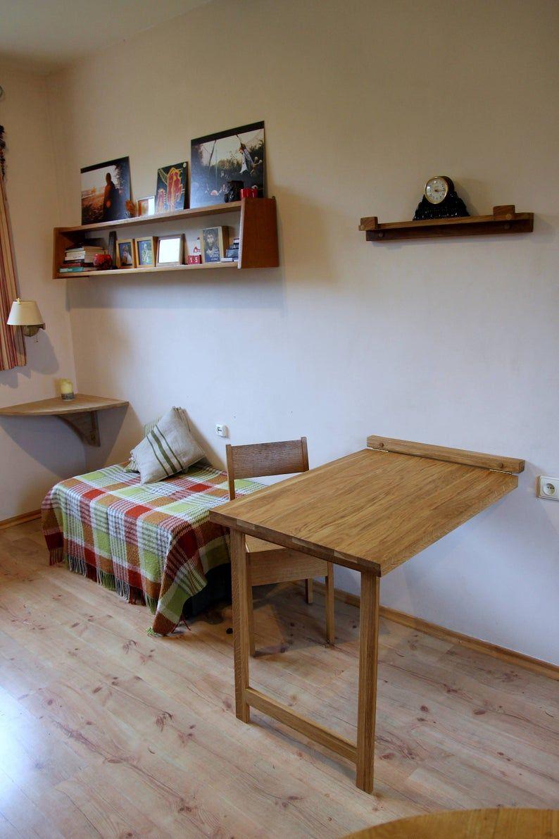 Drop down desk wall mounted folding table in solid oak
