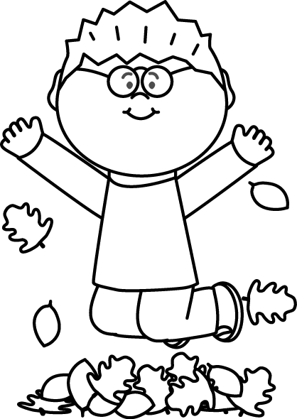 Black And White Boy Jumping In Leaves Clipart Black And White Free Clip Art Clip Art