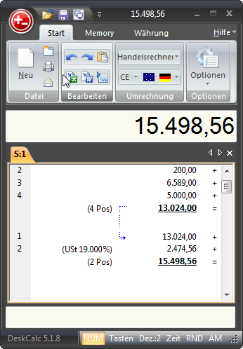 """""""DeskCalc"""" is a full featured adding machine with the functions you expect from a mechanical adding machine plus capabilities associated with a Windows environment. Features include a check-strip with comfortable text input per position, correction possibilities (rectifying, adding and deleting values), built-in formula interpreter, sales tax functions, cache (memory function), percentage calculation, EURO-conversion, floating point- and fixed point-calculation, subdivision into thousands…"""