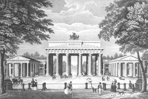 brandenburg gate mid 19th century after napoleon 39 s defeat in 1814 and the prussian occupation of. Black Bedroom Furniture Sets. Home Design Ideas