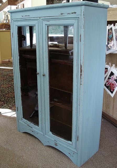 Vintage Antique Reclaimed Paint Williamsburg Blue Library Lawyers Bookcase Cupboard  Cabinet 2 Glass Doors 3 Shelves - Vintage Antique Reclaimed Paint Williamsburg Blue Library Lawyers