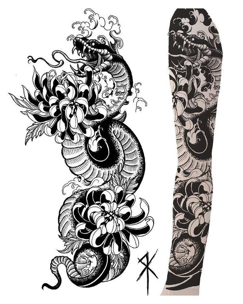 japanese sleeve tattoos snake