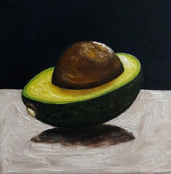 Avocado Painting Inches Canvas Kitchen Art Fruit By Cansupo