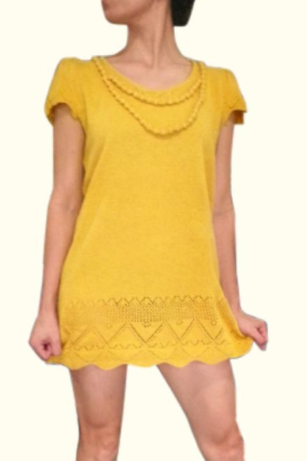 Long Sweater with Crochet Accents! One-Size. Rayon & Nylon. Mustard.