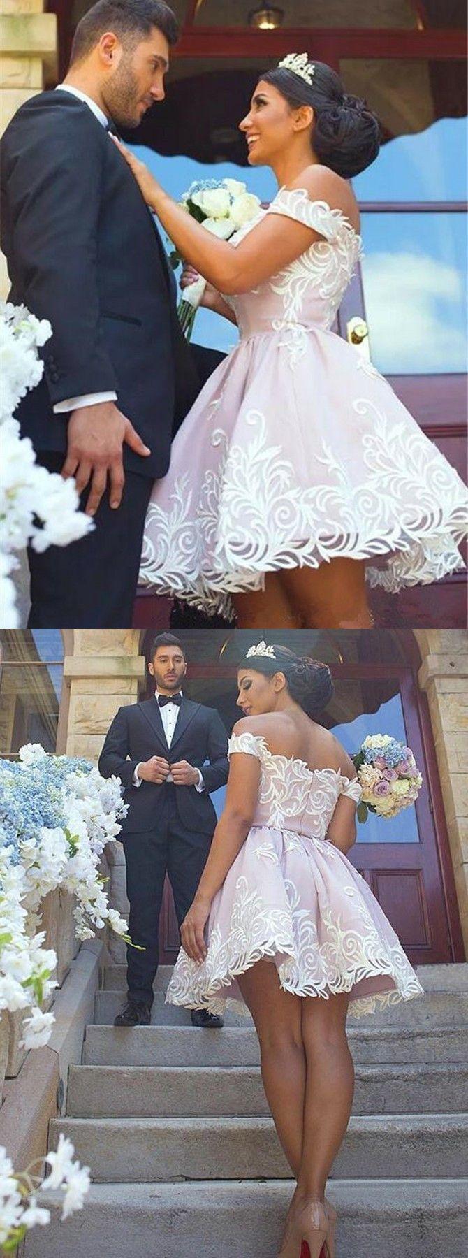 Aline offtheshoulder short pink satin wedding dress with lace i