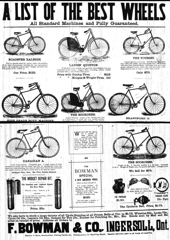 From The Ingersoll Chronicle May 5 1894 Depicting The Bicycles