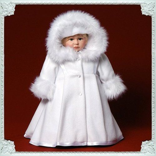 56c81bd5c7ed Baby Girl Winter Coat Jacket. White Fleece. Russian Christening Coat ...