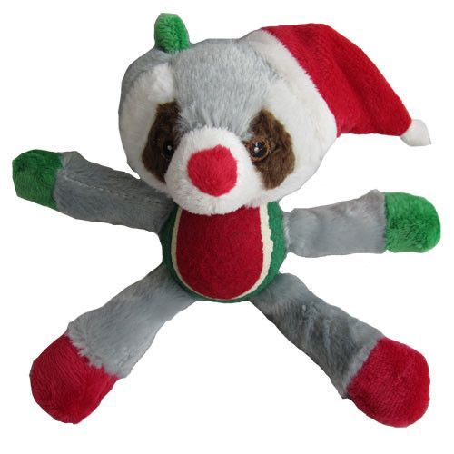 Iconic Pet Christmas Raccoon With Tennis Ball Plush Squeaky