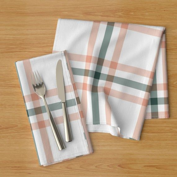 Plaid Dinner Napkins (Set of 2) - Sage & Coral Plaid by the_lemon_bee - Tartan  Country Farmhouse Nu