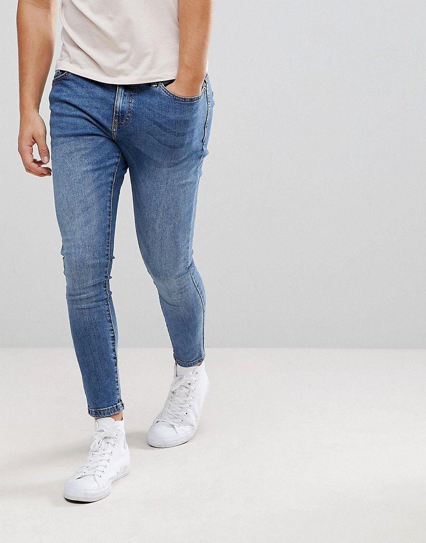 122c657ffe Bershka Super Skinny Jeans In Mid Wash - Blue