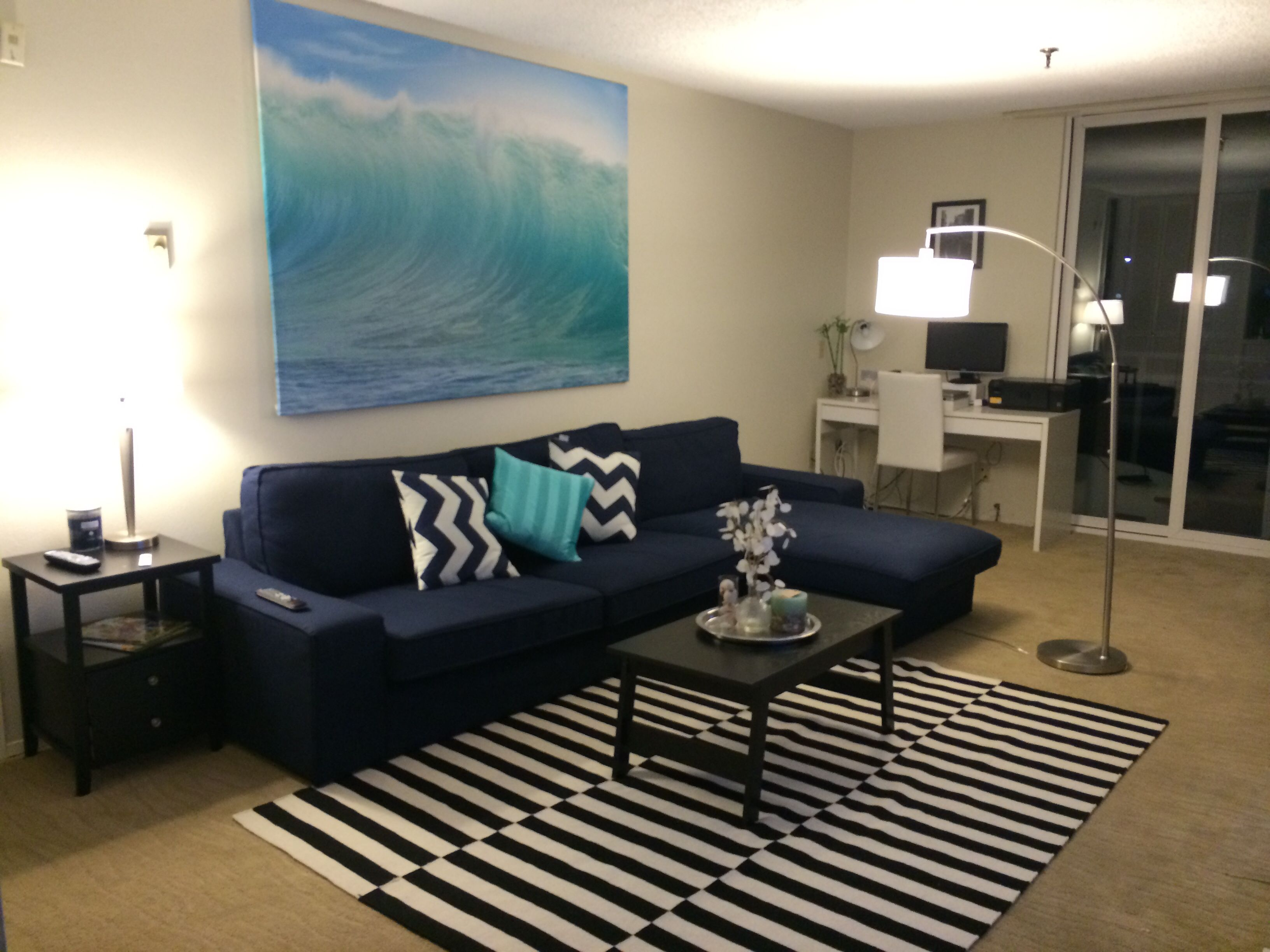My apartment beach decor surf decor ikea kivik sofa for Lounge room