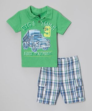Another great find on #zulily! Green 'Big & Tough' Polo & Plaid Shorts - Infant, Toddler & Boys by Kids Headquarters #zulilyfinds