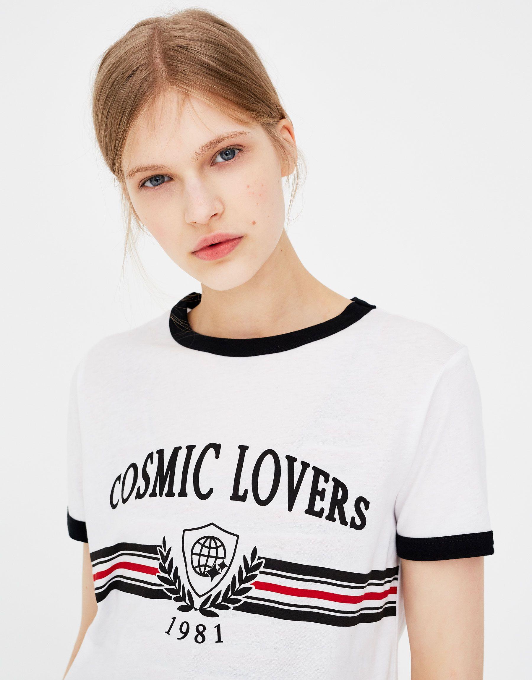 amp;bear Cosmic Lovers Mujer Pull Camiseta Texto Ropa Camisetas iXTOkZuP