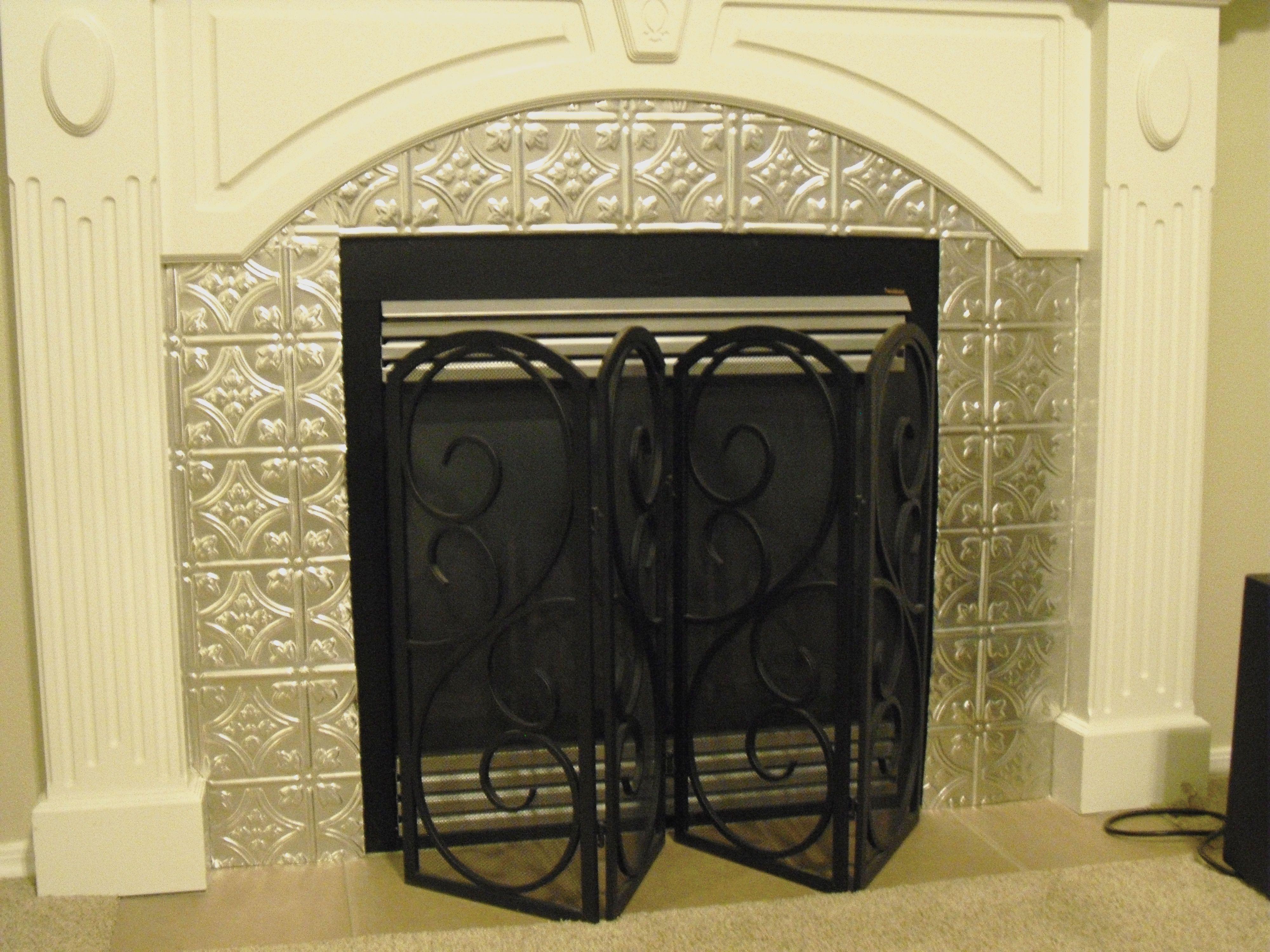 My fireplace surround DIY. Tin Tiles. Diy fireplace