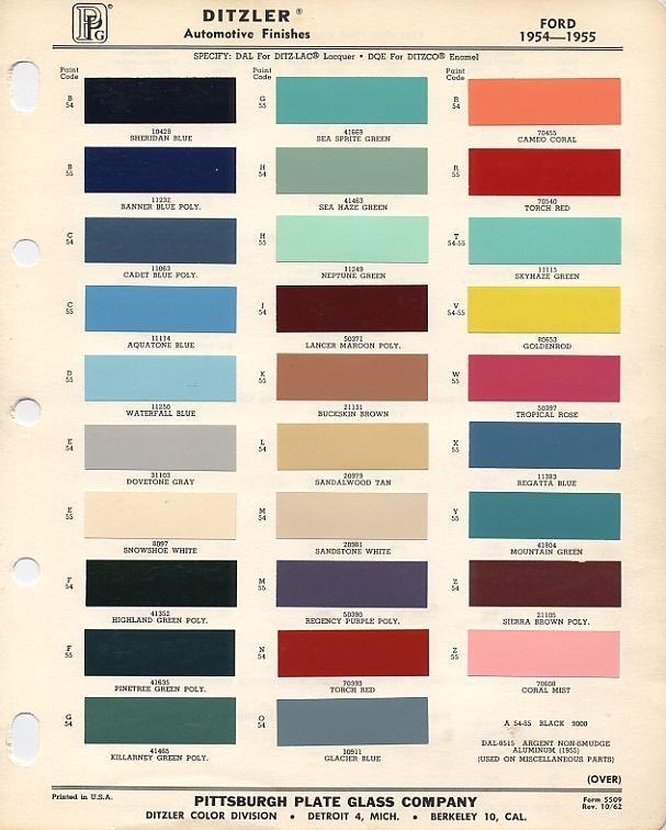 1954 And 1955 Ford Colors Paint Color Codes Car Paint Colors Automotive Paint