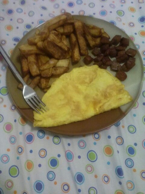 Eggs , Potatoe Cut Fries && Hot Dogs Chopped And Fried