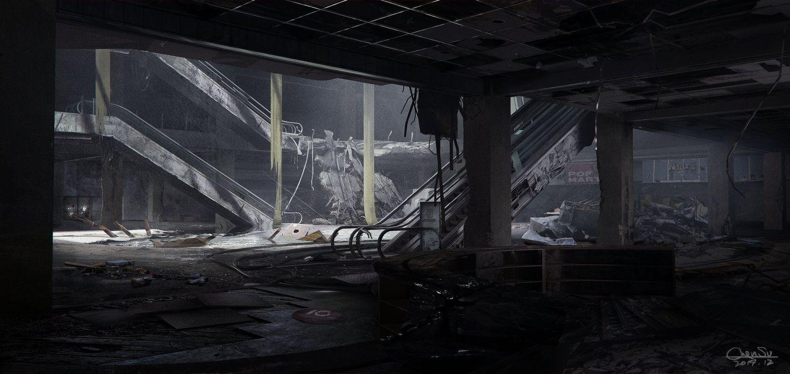 Abandoned Store, Su Chen on ArtStation at https://www.artstation.com/artwork/abandoned-store