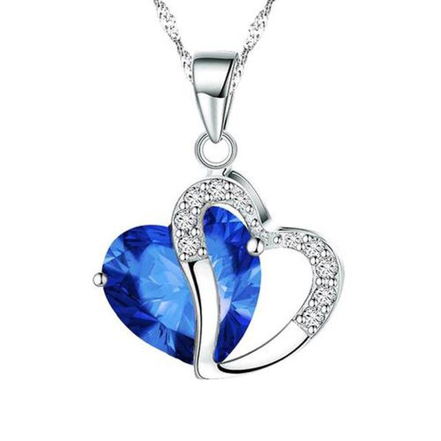 Trendy Silver Chain Crystal Rhinestone Love Heart Pendant Necklace Jewelry Gift
