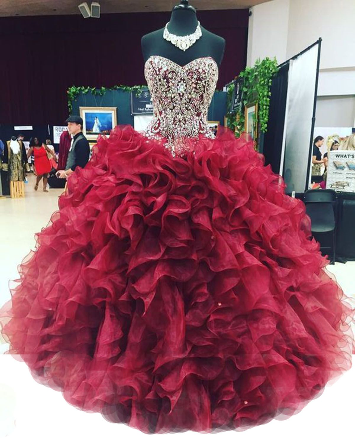 Burgundy Quinceanera Dresses Pageant Organza Beaded Ball Gown Prom Dress Custom