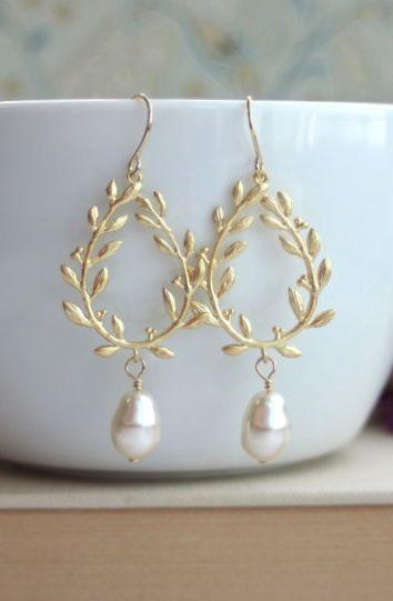Gold Laurel Wreath Cream Ivory Teardrop Pearl Dangle Earrings ...