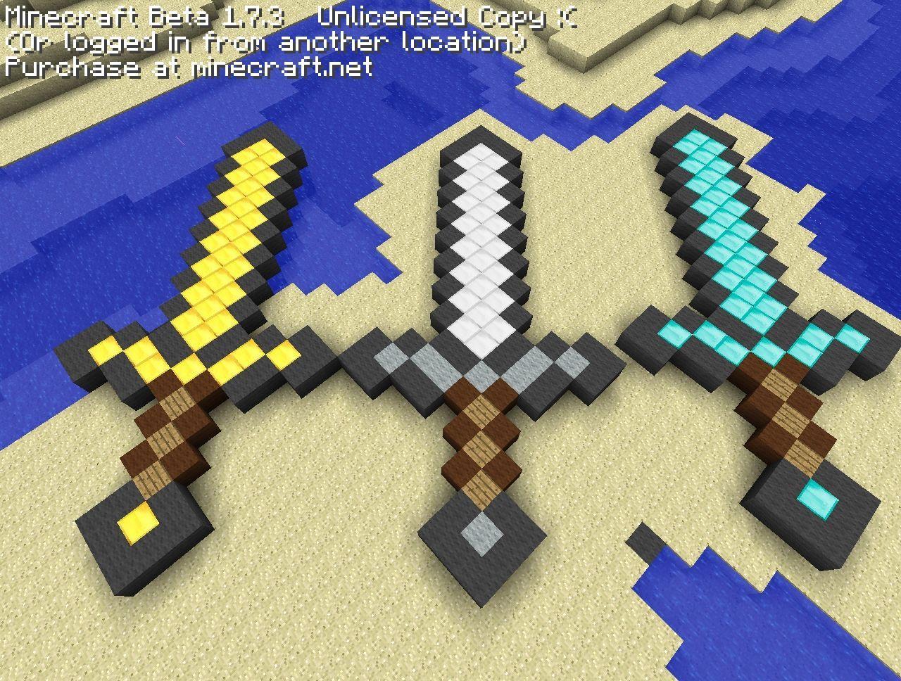 алмазный меч в майнкрафте по клеточкам