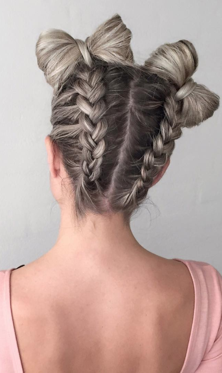 Cute Sophisticated Ways To Create Space Buns Or Double Buns Hair Styles Braided Hairstyles Wedding Guest Hairstyles
