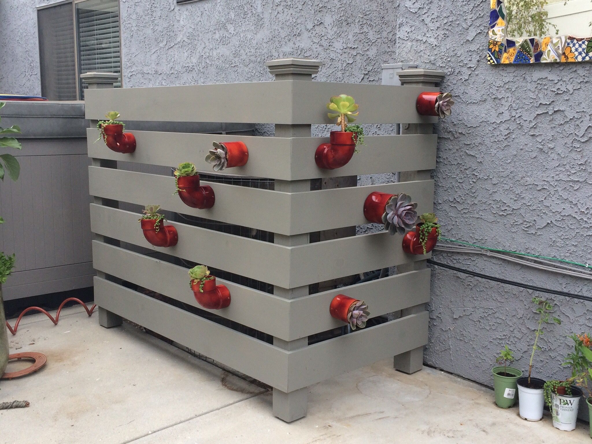 Air conditioner cover garden projects pinterest air for Air conditioning unit covers outside