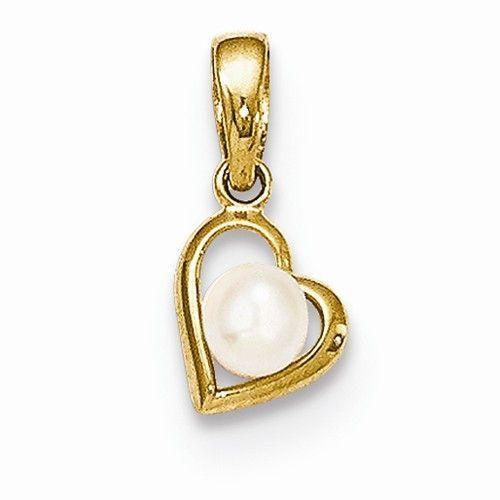 14k Freshwater Cultured Pearl Heart Pendant