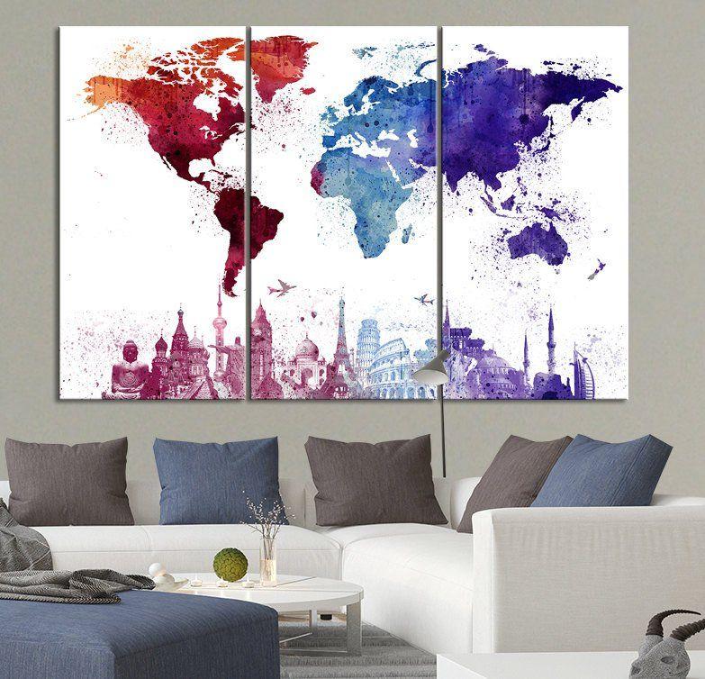 Large Canvas Art WORLD MAP and Wonders Paint Splash ...