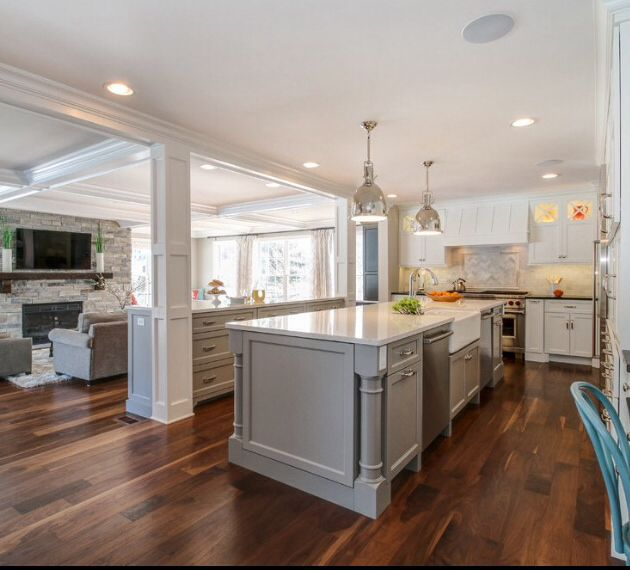 Light Grey Cabinets With White Quartz Counter Open Kitchen Family