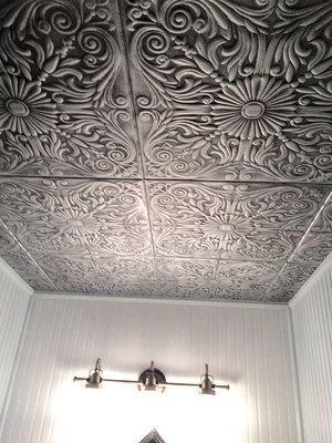 Spanish Silver Styrofoam Ceiling Tile 20 In X 20 In R139