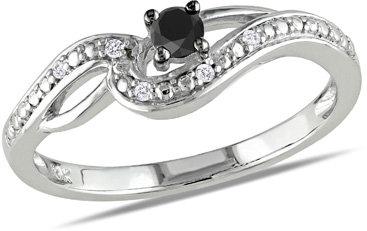 Zales 1/4 CT. T.w. Enhanced Black and White Diamond Split Shank Promise Ring in 10K White Gold E2zSZ5K