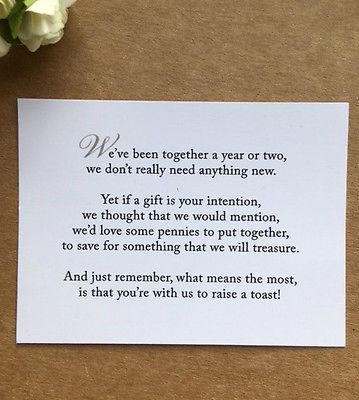 Wedding Poem Card Inserts Invitations Money Cash Gift Honeymoon