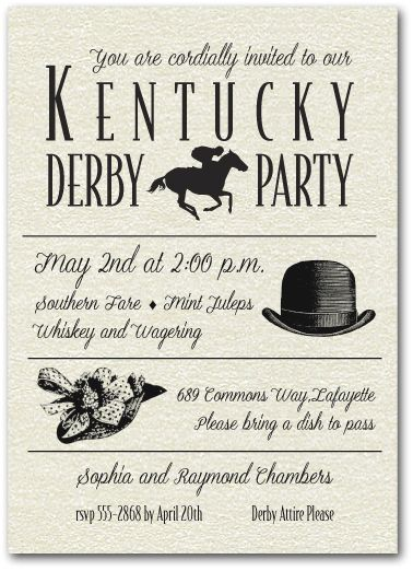Kentucky Derby Party Invitations Shimmery Derby Day Billboard