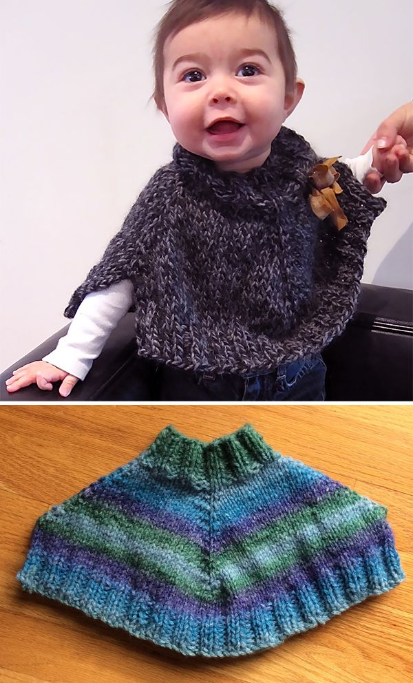 Free Knitting Pattern For Easy Baby Gaga Poncho Rated Easy By