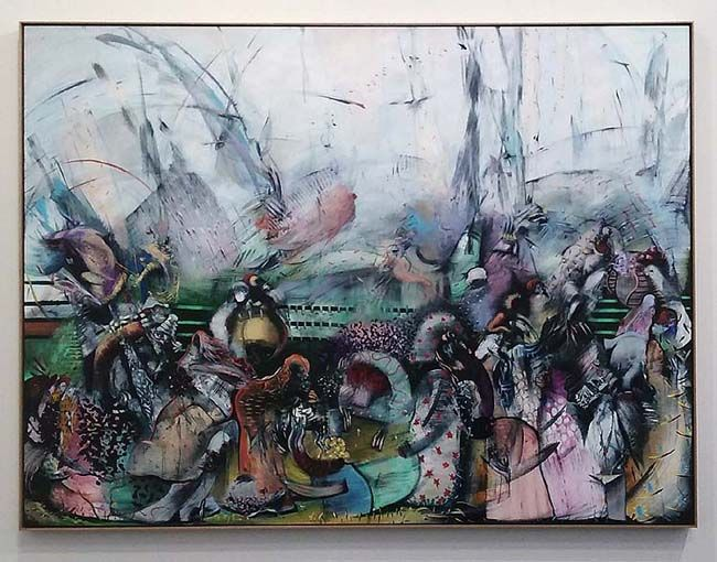 Ali Banisadr, Treasure, 2016. Oil on linen, 66 x 88 inches. SW 16076. Sperone Westwater, Frieze New York 2016. Photo: J. Gora.