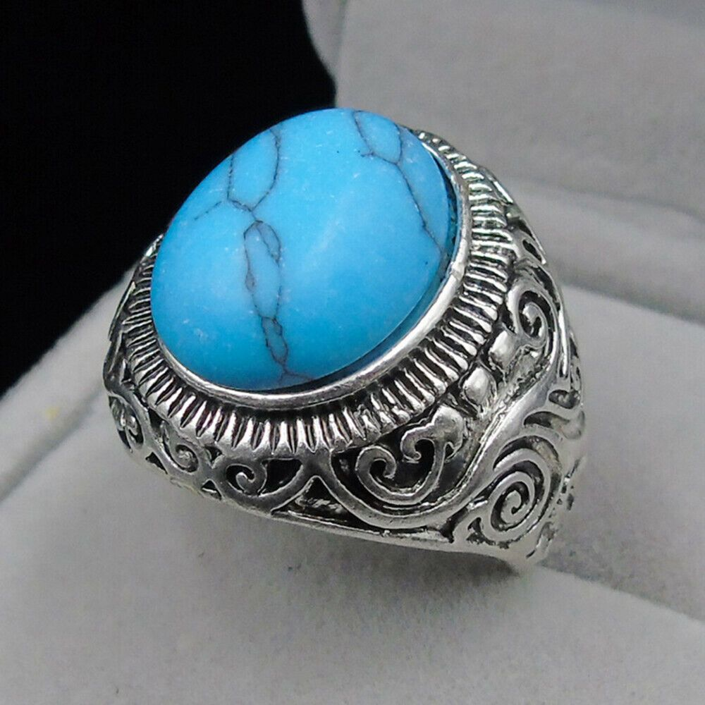 Mens Vintage Silver Plated Turquoise Stone Engagement