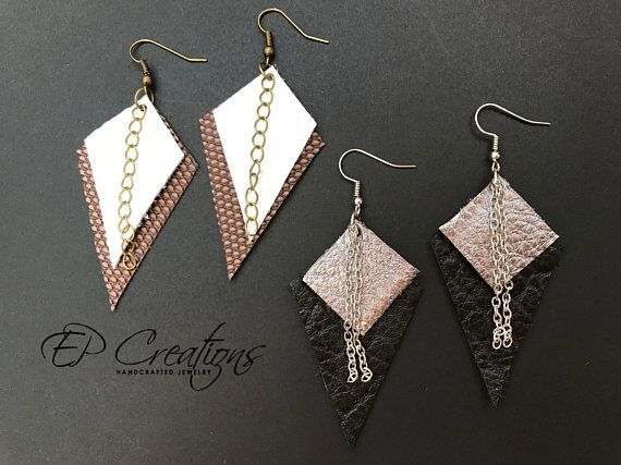 88d23bec1 Leather earrings - cowhide leather - faux leather - geometrical shapes - large  diamond - small diamo