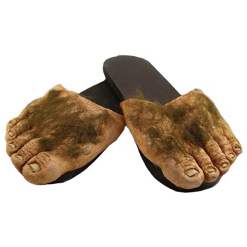 Adult Big Ol' Hairy Costume Feet, Size: Large, Brown
