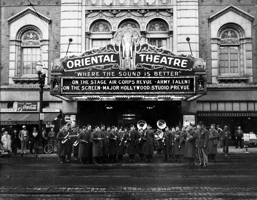 The Oriental Theatre Exterior By Everett Oriental Theater Vintage Movie Theater Theatre